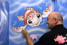 nemo and squirt mural / Squirt and Nemo were painted above the hand dryers in the washrooms of the Clocktower Childcare pre-school in Snodland. The characters were chosen for their broad appeal to all age groups. Bubbles, fish and jelly fish were added with some gentle waves to create an underwater experience.