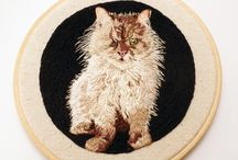 Custom Embroidered Pet Art - Dogs and Cats / Samples of commissioned embroidered portraits I have made for clients to celebrate their beloved pets!