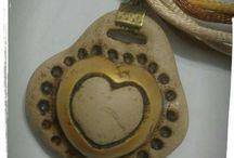 Cuore Heart : collana con pendaglio a cuore / Cuore fatto a mano in pasta fimo e collana in triplice coda di topo