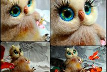 Magical owls. Needle felting / Handmade toys made of wool and fur