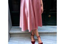 Handmade High Waist  Rose Color Flared Midi Skirt