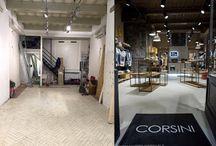 """BioMalta negozio CORSINI-2 / Restyling del Negozio CORSINI """" a Siena. Pavimento, cassa e retro parete in BioMalta"""