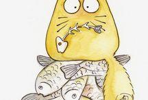 кошка на с рыбой