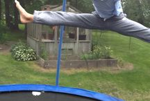 Splits in the air / Go on to a trampoline and jump and split