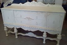 Buffets, Vintage Shabby Chic Sideboard, Breakfront, Server