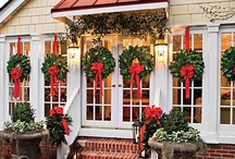 Ask Balsam Hill - Ribbons on Wreaths / Here we see the traditional looped bow placed on the bottom of the wreath and simply attached to the window with the same ribbon.  Simple and beautiful