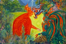 9 Maya paintings / these paintings are based on my studies of the Maya people of Mezo-america their history, myths, writings and inspired by my journey to Mexico, Guatemala and Belize in 2010.