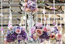 candiles con flores