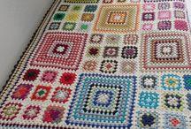 Cotton granny square rug
