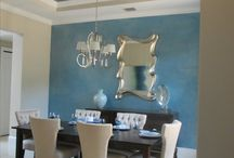 Faux Finishes in Blue / Faux finishes in shades of blues #fauxpainting #fauxfinish #bluefauxfinish