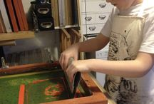 Printing with children / My personal work - teaching in schools and with children  screen printing and block printing