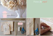 Flores de papel , cinta y tela / by Maria Rojas