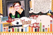 Back To School / Scrapbooking Layouts, Projects, & Cards for your student, self, & teacher.  This includes 2-page School Layouts, Teacher Gifts, Teacher Cards, plus tons of ideas to get ready for school.