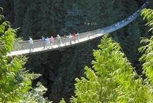 Capilano Suspension Bridge / Walking across the Capilano Suspension Bridge in North Vancouver, BC