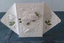 Witte kaart met rozen.