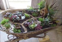 Wheelbarrow fairy garden