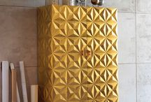 "Wardrobe with ""Diamond"" pattern / Diamond is the key element of the ""Diamond Collection"", proposed by Bizzotto in color gold."