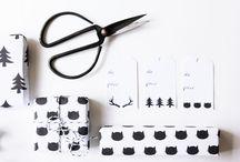 papier cadeau et etiquettes