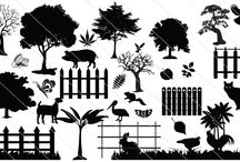 Farm silhouettes / Awesome vector illustration graphics for your farm, make your farm with nature friendly trees, wooden fences, farm animals as a farm silhouettes.