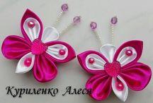farfalle e fiori in raso