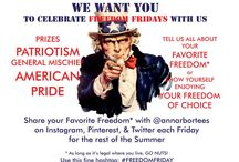 #FREEDOMFRIDAY Summer 2015 Weekly Contest / Ann Arbor T-Shirt Company we want you to show pix of you enjoying your Favorite Freedom -- as long as it's legal for you to do where you live, GO NUTS! We will pick a fave each week, get in contact w the winner, and they'll get a piece of specially designed #FREEDOMFRIDAY swag as a fine fine prize. Review the rules of the game, go forth, go legally crazy, and show us @annarbortees what you freedom you love most about being an American. Use #FREEDOMFRIDAY.