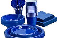 Blå engangsservice / Stort udvalg af blåt engangsservice og pynt til din fest, temafest, barnedåb og fødselsdag.