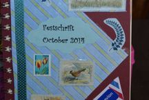 Postcrossing Festschrift / A friend's book made with the postcards received by  postcrossers and the scraps they send.