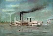 Steamboats / The steamboat era in #American #history was an intriguing time. Riverboats were not all that safe. They could be subject to explosion, hit submerged logs, run aground, or capsize.