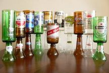 beer bottles glass candle