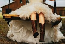 Country Charm Wedding / Country Chic Wedding Ideas | Cowboy Boots and Wedding Dresses | Bridesmaids in Boots | Western Themed Wedding