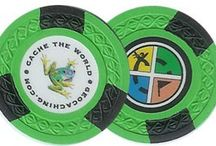 Geocaching Poker Chips / Poker chips are a popular signature items for geocachers. With stickers, a colour printer, and perhaps something to coat them with to protect against the elements, you can create an affordable DIY trade/sig item. Here you'll see some examples of the ones out there.