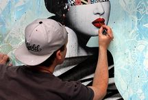 Hush Art / We go behind the scenes with famous street artist of the moment Hush. Check out our exclusive behind the scenes photographs of the artist creating his stunning murals.