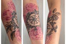 compass flower tattoo