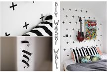 DIY Washi Tape Cross Wall / Get creative with washi tape and make a statement wall pop with rows of black crosses!  Link to full blog here - http://www.aprilandthebear.com/blog/2015/4/11/wall-decor-diy-x-pattern