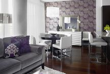 living room grey and purple
