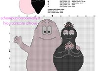 Barbapapà schemi da ricamare punto croce / Barbapapà schemi da ricamare punto croce, categoria bambini, cartoni animati.