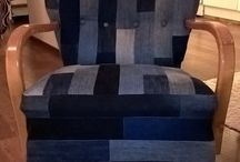 Farkkutuoli / Chair made of old jeans.
