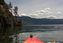 Kayaking Lake Pend Oreille / I live in Sandpoint, Idaho and I kayak every chance I get. I'm trying to kayak the entire perimeter of Lake Pend Oreille. Lake Pend Oreille (pronounced: pond-o-ray) is the largest lake in the northern Idaho Panhandle, with a surface area of 148 square miles (380 km2). It is 43 miles (69 km) long, and 1,150 feet (350 m) deep in some regions, making it the fifth deepest in the United States.  / by Darla Coburn Gregg