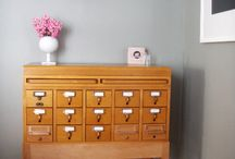 card catalogs / card catalog furniture with many drawers hardware apothecary tables  home decor and interiors room inspiration