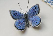 papillon bleu,broche