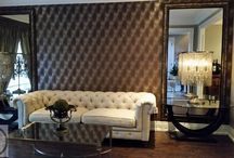 Parsons Interiors...Kleinburg projuct / Parsons Interiors designed this beautiful formal living room, by using 3D wallpaper for a wow factor. We added two very large custom mirrors on both side of the sofa to create a balance to the living space.