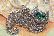 Sterling silver handmade by Vera Viktorova / Unique jewelry. Silver and glass handmade by artist-designer Vera Viktorova