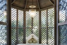 Ceilings / curved, beams, ceiling roses, cornices, pendant lights, chandeliers, down lights