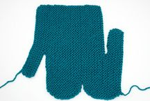 Knit mitts/sewn