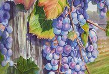 uvas acuarela