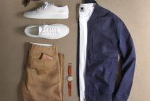 Outfits - Blue top, Khaki bottom