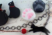 猫つながりのアクセサリーと和小物 / 猫をモチーフにしたアクセサリーと和小物 #ねこ #手作りアクセサリー #着物