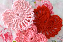 crochet hearts and flowers