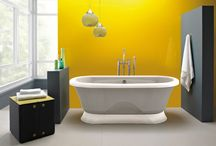 Salles de bain jaunes / Voici quelques idées pour aménager une salle de bain de couleur jaune.