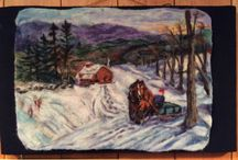 Maple Syrup Collection / Felted images about making maple syrup, using the draft horse to collect sap